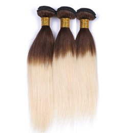 $enCountryForm.capitalKeyWord UK - Two Tone #4 613 Medium Brown to Blonde Ombre Virgin Indian Hair 3Bundles Silky Straight Brown and Blonde Ombre Human Hair Weave Extensions