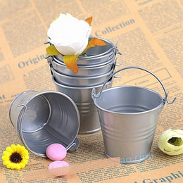 Discount tin buckets favors - Galvanized Metal Bucket party favors decoration, mini planters tin pails, mini bucket wedding party supply