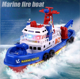 warships toys Canada - New Electric Boat Children Marine Rescue Toys Boat Fire Boat Children Electric Toy Navigation Non-remote Warship Gift High Speed