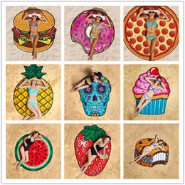 round skull NZ - Round Polyester Beach Shower Towel Blanket Yoga Towel Skull Ice Cream Strawberry Smiley Emoji Pineapple Pie Watermelon Towel
