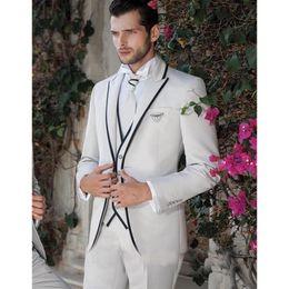 $enCountryForm.capitalKeyWord Australia - 2017 New Design ivory Mens Wedding Tuxedos Peaked Lapel Wedding Suits For Men Two Buttons Tuxedos suit (jacket+pants+vest)