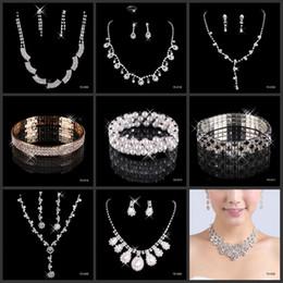Venta al por mayor de Maxi Barato joyería nupcial con encanto aleación plateado Rhinestones conjunto de joyas de cristal para la boda de la dama de honor de la fiesta de graduación envío gratis
