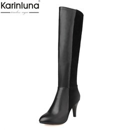 China Karinluna 2018 dropship large sizes 33-43 thin high heel add plush Women's Shoes Woman sexy party winter woman knee-high boots cheap high heel red sexy women shoes suppliers