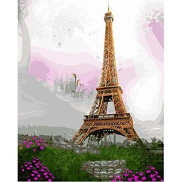 paris canvas decor Canada - pictures by numbers on canvas Paris Eiffel towel Scenery Home decor paintings by numbers with acrylic posters