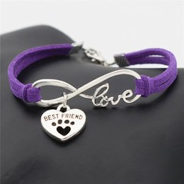 Best Christmas Gifts For Men Australia - New Hot Fashion Purple Leather Rope Jewelry Infinity Love Pets Dog Paw Best Friend Bracelet Bangles For Men Women gift Special Sale pulseras