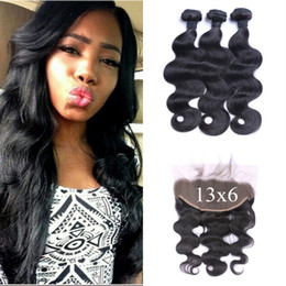 Discount brazilian virgin hair body wave frontal - Virgin 13*6 Frontal Lace Closure With 3pcs Indian Body Wave Hair Bundles 100% Human Hair Extensions