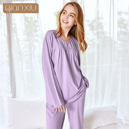 Autumn Women Sweety Pajama sets Female Bamboo Fiber Sleepwear suit Girls  Lace Patchwork O-neck collar t shirt   Pants Plus size daacd4264