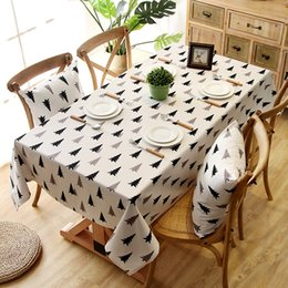 Canvas table Covers online shopping - 2 colors size Fashion printing waterproof cotton canvas rectangle home tablecloth table covers table runners