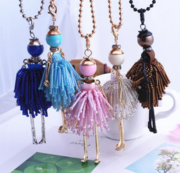 Chinese  statement handmade doll necklaces long chain pendants 2018 alloy new cute choker girls women accessories silver-color necklace manufacturers