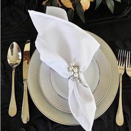 White Cotton Napkins Australia - Hot Sell 50cm*50cm White Wedding Party Napkins Polyester Table Napkins fabric table Mat Placemat linen Free Shipping