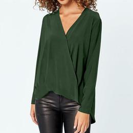 3f3e8d92f Mulheres Chiffon Blusa Camisas de Verão Outono Casual Cruz Com Decote Em V  Manga Longa Magro Sólida Elegante Senhora do Escritório Tops 6Q2022