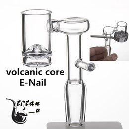 Bongs Coils Australia - Volcanic Core Domeless Quartz Electric Banger Nail For 20mm Heating Coil 9mm Bottom 90 Degree Glass Water Bongs Dab Oil Rig 679