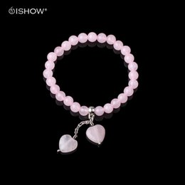 Cute stone braCelets online shopping - Natural Stone Bracelet For Woman Heart Pendant Pink Stones Beads Bracelets Bangles Cute Jewelry Valentine s Day Christmas Gifts