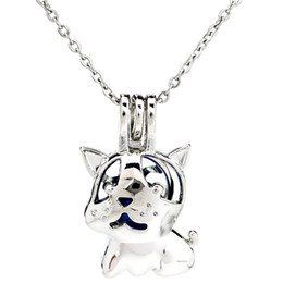 $enCountryForm.capitalKeyWord NZ - Silver Cute Dog Cartoon Hollow Beauty Essential Oil Diffuser Locket Women Aromatherapy Beads Pearl Cage Necklace Pendant-Boutique gift