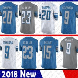 Limited Detroit 9 Matthew Stafford Lion Jersey 20 Barry Sanders 15 Golden  Tate III 23 Darius Slay JR Football Jerseys Blue White Color Rush c2bbf622a
