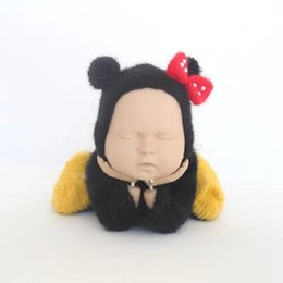 be440888969 Newborn Mohair Bonnet Soft Baby Girl Romper Set Crochet Newborn Mouse Overalls  Vintage Animal Bodysuit Photography Prop Suit
