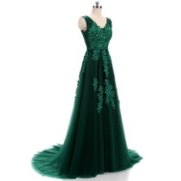 2018 beads lace a line prom dresses sexy v neck sweep train long evening gowns custom backless lace up party dress free shipping