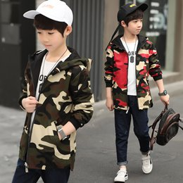 Baby Camouflage Jackets Australia - 2018 Both sides Children's Hooded Jackets Boy Fleece Camouflage Zipper Windbreaker Long Sleeve Casual Trench Baby Outdoor Coats