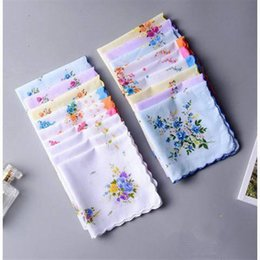 Wholesale Floral Cutters Australia - 100% Cotton Handkerchief Cutter Ladies Handkerchief Craft Vintage Hanky Floral Wedding Party Handkerchief 30*30cm Random Color
