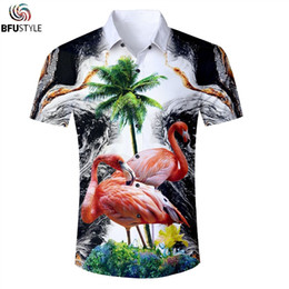 China Mens Clothing Flamingo Hawaii Printing  Shirt Men Casual Fashion Camisa Masculina  Shirts Men Womens Tops Shirt  cheap hawaii clothes suppliers
