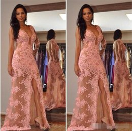 $enCountryForm.capitalKeyWord Australia - Sexy Pink Long Dresses Evening Wear 2018 New One Shoulder V-Neck Tulle Appliques Front-Split One-Shoulder Prom Gowns Lace Party Dresses