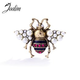 vintage costume jewelry brooches pins UK - JOOLIM 2017 Vintage Simulated Pearl Bee Pin Brooch Antique Pin Women Brooch Costume jewelry Free Shipping