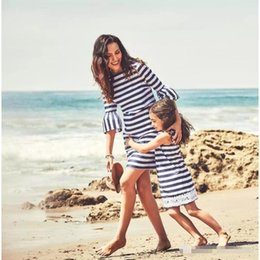 stripe clothes mom UK - Mommy and Me Clothes Mom Girl Stripe Matching Dress Family Look Family Matching Outfits Mother Mom Daughter Summer Beach Dresses
