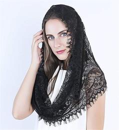 $enCountryForm.capitalKeyWord NZ - Black Embroidered Eyelashes Side Veil Mantila Catholic Church Veil Wedding Veil Covered Chapel Scarf Latin Quality