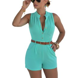 womens sleeveless rompers Australia - 2018 Summer Casual Playsuit Sexy Sleeveless Short Jumpsuit Shorts Solid Overalls Romper Shorts With Belt Rompers Womens Jumpsuit