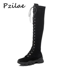 boot red platforms 2019 - Pzilae new women winter boots ladies over the knee lace up zipper long boot shoes short plush platform leather Martin bo
