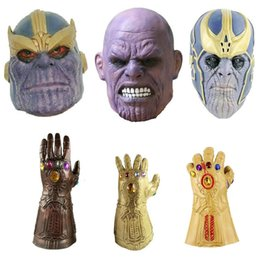 $enCountryForm.capitalKeyWord NZ - Avengers 3 Infinity War Thanos Mask and Gloves Halloween Full Face Helmet Cosplay Latex Infinity Gauntlet Carnival Cosplay Dress Up Props