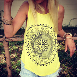 Stylish Summer Tops Women NZ - 2018 Women Summer Sexy Fashion Stylish Sun Letters Circle Printed Tank Tops Casual Cotton Fitness Tops
