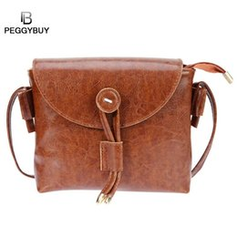 small wax bags 2018 - Reteo Style Mini Women Crossbody Bags Oil Wax PU Leather Ladies Simple Messenger Bags Small Solid Fashionable Shoulder H