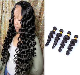 Human Hair Brazilian Loose Curly Australia - 4PCS Loose Deep Curly Wave Brazilian Virgin Human Hair Extensions Weft 4Bundles 400g real human hair weaves