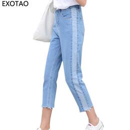 $enCountryForm.capitalKeyWord Canada - EXOTAO Design Panelled Color Jeans for Women Ankle-Length Denim Pants Female 25-32 Plus Size Vaqueros Trousers with High Waist