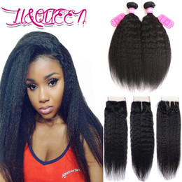 malaysian wavy human hair NZ - Virgin Malaysian 3Pcs Human Hair Extensions Kinky Straight Natural Color Double Weft Wavy 2 Bundles With Lace Closure 4x4 Human Hair