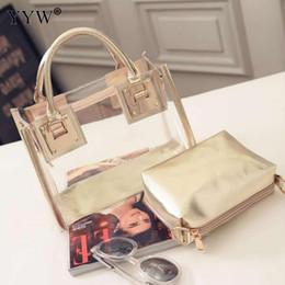 Gold Handles Australia - Transparent Gold Tote Bags Set Buy 1 Get 2 Women's PVC Handbags Famous Brands Lady's Clutch Bag Luxury Women Top-handle Bag