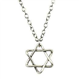 Necklaces Pendants Australia - WYSIWYG 5 Pieces Metal Chain Necklaces Pendants Hand Made Necklace Men Star Of David 20x18mm N2-B10537