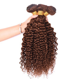 $enCountryForm.capitalKeyWord Australia - Brown Kinky Curly Peruvian Hair Weave Bundles 10-30 inch #4 Color Virgin Remy Human Hair Weaves Extensions 3pcs Or 4pcs Lot