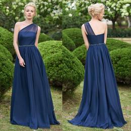 Navy boho bridesmaid dress online shopping - Dark Navy Women Chiffon Bridesmaids Dresses Garden Boho Wedding Guest Party Gowns A Line Sheer One Shoulder Long Maid of Honor Wear BM0148