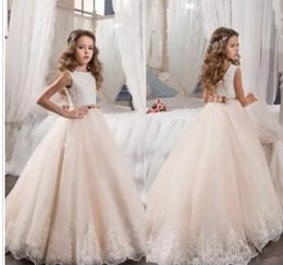 Tutu Sizes For Kids Australia - 2017 Vintage Flower Girl Dresses For Weddings Blush Pink Custom Made Princess Tutu Sequined Appliqued Lace Bow Kids First Communion Gowns