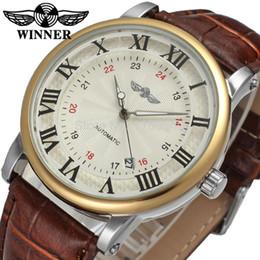 brass strapping 2019 - Winner Men's Watch Luxury Brand Automatic Business Style Leather Strap Analog Dress Fashion On SaleWristwatch WRG80