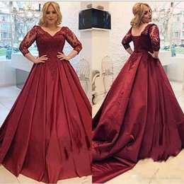 Cheap Petite Prom Dresses NZ - 2018 Vintage Burgundy Lace Satin Evening Dresses 3 4 Long Sleeves Sheer V-Neck Cheap Occasion Lace Up Back Prom Party Gowns