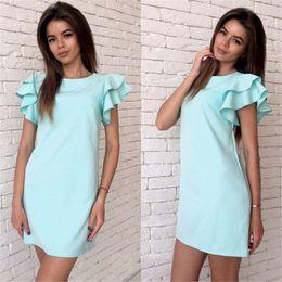 $enCountryForm.capitalKeyWord NZ - Women summer Sexy Back V Straight dress 2018 New Short sleeve Beach Casual Party Red Sky blue Mini Dress Plus size
