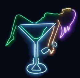 $enCountryForm.capitalKeyWord Australia - 24*20 inches Lady Cocktail Visual Artwork DIY Glass Neon Sign Flex Rope Neon Light Indoor Outdoor Decoration RGB Voltage 110V-240V