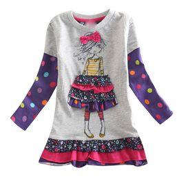 Kids frocKs fashion online shopping - cartoon kids Girls dress T children s clothing long sleeves baby kids casual fashion hot selling child frocks