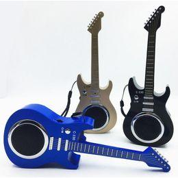 Portable Mp3 Amplifier Speaker UK - Subwoofer guitar wireless bluetooth speaker Mp3 playback USB TF card slot FM radio for mobile phone laptop speaker amplifier gift