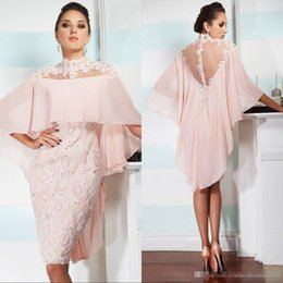 HigH collar tea lengtH dresses online shopping - 2018 Pink Tea Length Mother Of The Bride Lace Dresses With Jacket Appliques Plus Size Evening Dress Formal Prom Party Gowns Custom Made