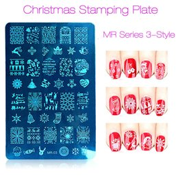 Discount nail art big stamping plates - Big MR Christmas Decorations Nail Stamping Plates Konad Stamping Nail Art Manicure Template Stamp Tools 9.5*14.5 CM 2017