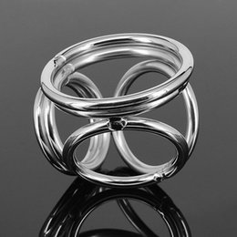 Cockrings Freeshipping Australia - Men Stainless Steel Dick Ring Penis Delay Ejaculation 4 Holes Cockrings Lock Dildo And Scrotum Adult Male Cocks Sex Toys J7-1-26 Y18110302